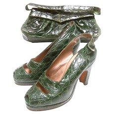 Saks Fifth Avenue 1940's Green Alligator Handbag & Peep Toe Pumps Ensemble. Rare.