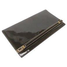 Gucci Sleek Black Leather Logo Clutch Bag. 1970's.