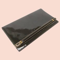 Gucci Sleek Black Leather Logo Clutch Bag. 1970's.