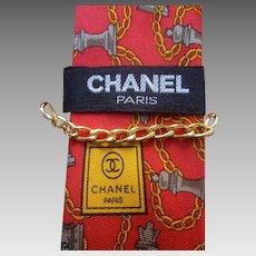 Chanel Vintage Men's Silk Necktie. Chess Themed.
