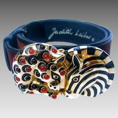 Judith Leiber Jeweled Animal Themed Brown Suede Belt.