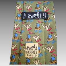 Hermes Paris Whimsical Mermaid Vintage Tie With Box.