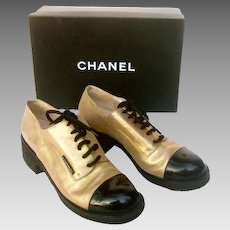 Chanel Rare Super Chic Gold and Black Leather Spectator Lace Up Shoes in Box. Size 6.5