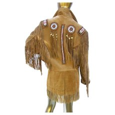 Western Style Beaded Tan Vintage Jacket. Unisex. Size Large.