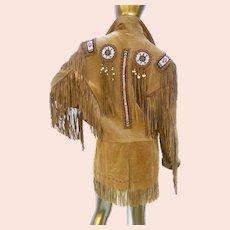 Western Style Beaded Tan Vintage Jacket. Unisex. Size Large.