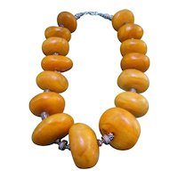 Stunning Huge Resin Beaded Statement Necklace. 1970's.