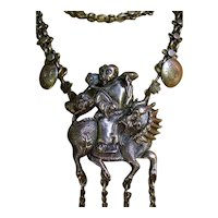 Antique Chinese Export Silver Qilin Kylin Necklace.