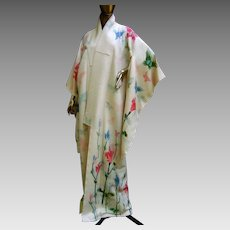 Japanese Luxurious Butterfly Floral Vintage Kimono.