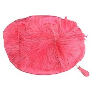 Fuchsia Satin Feather Oval Clutch bag by Greta Originals. 1960's.