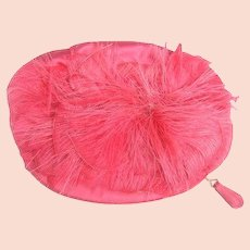 Fuchsia Satin Feather Oval Clutch bag by Greta Originals. 1960's.