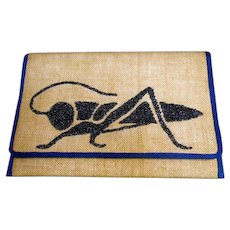 Unique Glass Beaded Burlap Grasshopper Vintage Clutch Bag.