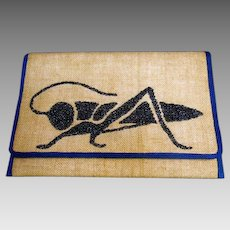 Unique Glass Beaded Burlap Grasshopper Vintage Clutch Bag.