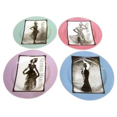 Neiman Marcus Set of Four Porcelain Vintage Fashion Desert Plates.