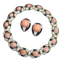 Ciner Exquisite Coral Resin Jeweled Choker & Earring Set. 1970's.