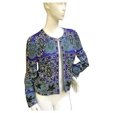 Gorgeous Silk Glass Beaded Bolero Vintage Evening Jacket.