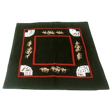 Exquisite Needlepoint Hand Stitched Bridge Gaming Table Cover.