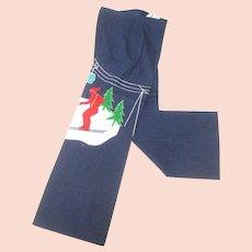 1970's Whimsical Applique Ski Themed Denim Flared Jeans.