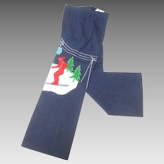 1970's Whimsical Applique Ski Themed Denim Flared Jeans.