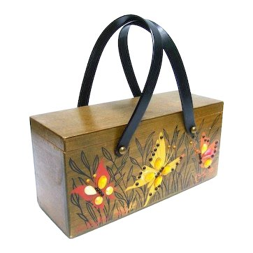 Collins of Texas Wood Butterfly Box Purse. 1970's.