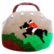 Applique Bermuda Bag with Horse. 1980's.