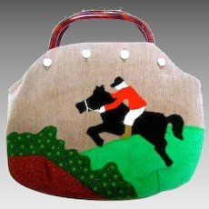 Applique Bermuda Bag with Horse. 1980's.