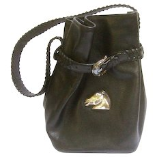 Kielselstein-Cord Sterling Silver and Black Leather Bag.