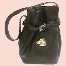 c366ea9a Kielselstein-Cord Sterling Silver and Black Leather Bag.