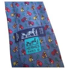 Hermes Paris Silk Equestrian Print Necktie in Hermes Box.