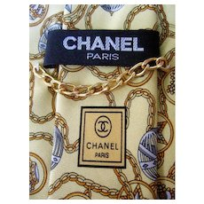 Chanel Silk Stars and Orbs Italian Necktie.