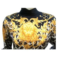 Escada Silk Charmeuse Jungle Print Tunic Blouse. 1980's.