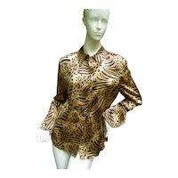 St. John Jungle Print Silk Blouse.