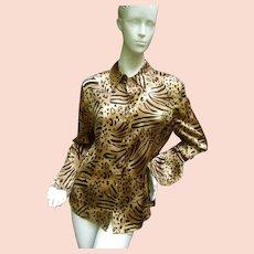 St. John Jungle Print Silk Blouse.