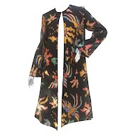 Mary McFadden Quilted Cotton Duster Coat. 1970's.