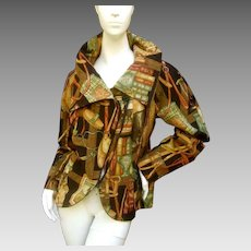 Equestrian Themed Graphic Print Custom Jacket. 1980's.