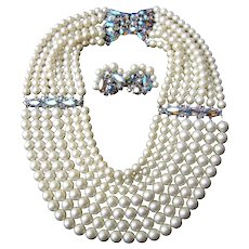 Schiaparelli Faux Pearl Bib Necklace and Earring Set. 1960's.