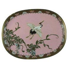 Japanese Cloisonne Fine Wire Enamel Dish Longevity Crane - RESERVED