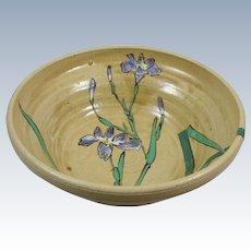 Japanese Kyo Yaki Bowl w/ Iris Kyoto Pottery