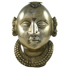 Parvati Brass Goddess Gauri Head India