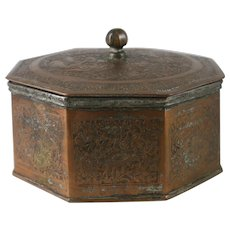 19th Century Persian Islamic Tinned Copper Octagon Box Iran