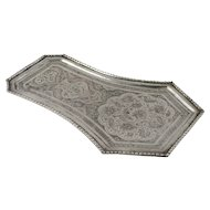 Persian Qajar Silver Qalam-Zani Tray Isafahan