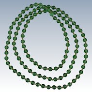 Chinese Qing Peking Green Glass Mandarin Court Beads Necklace