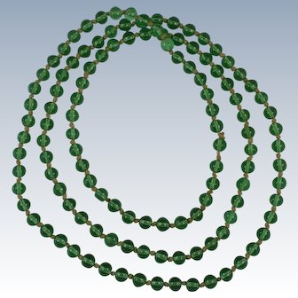 Chinese Qing Peking Green Glass Mandarin Court Beads Necklace