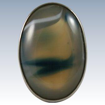 Natural Banded Agate Cabochon Ring 14 Karat 585