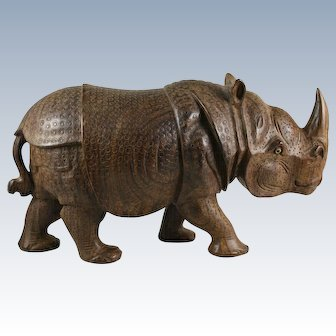 Carved Wood Rhinoceros Rhino India