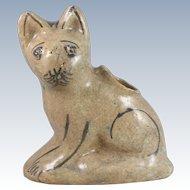 Persian Pottery Qajar Faience Cat Vessel Iran