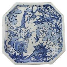 Japanese Sometsuke Arita Porcelain Square Dish