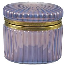 French Opaline Translucent Lilac Glass Casket Hinged Box