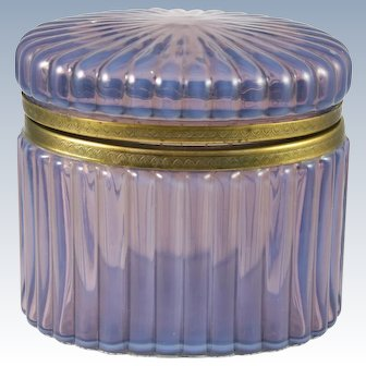 French Opaline Translucent Lilac Glass Hinged Box