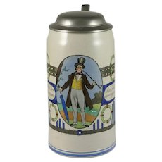 German Saltware Stein Enameled Stoneware
