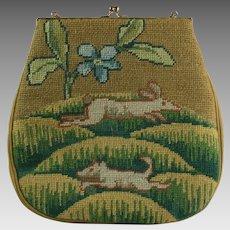 Tapestry Needlepoint Purse w/ Rabbit & Boar Wool Handbag